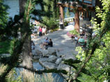 Upper view of patio and water feature in full enjoyment