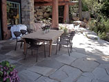 Flagstone patio specifically cut and fit to 1-inch gap