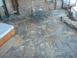 Flagstone patio and hot tub