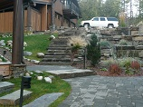 Full view of paver pathway with landscape lighting