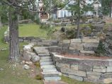 Retaining walls and stairway