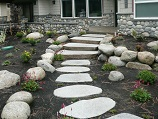 Placed flat stone entrance pathway