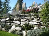 Crushed, aged granite retaining wall with perennial flowers and ground cover